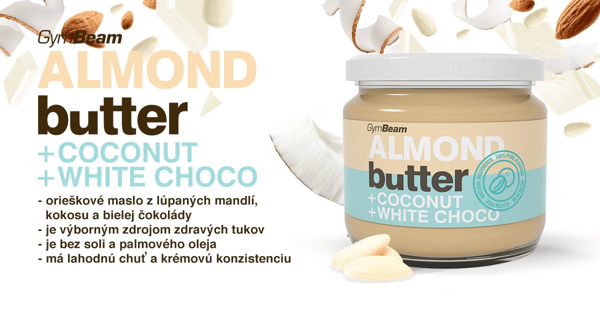 Mandľové maslo s kokosom a bielou čokoládou - GymBeam