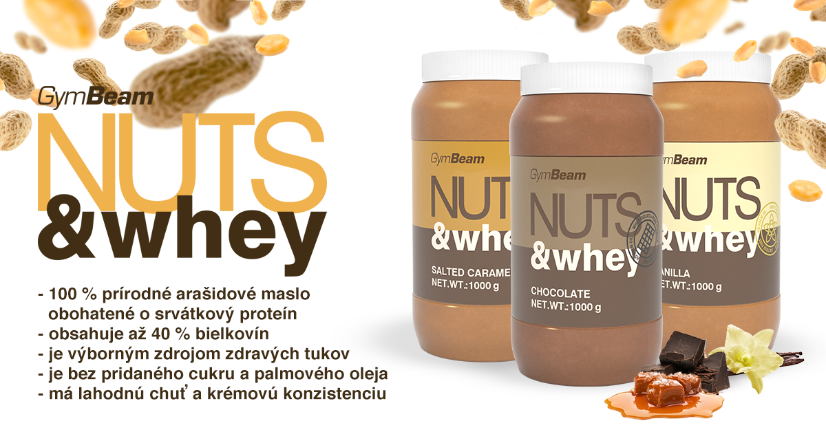 Proteínové arašidové maslo Nuts & Whey 1000 g - GymBeam
